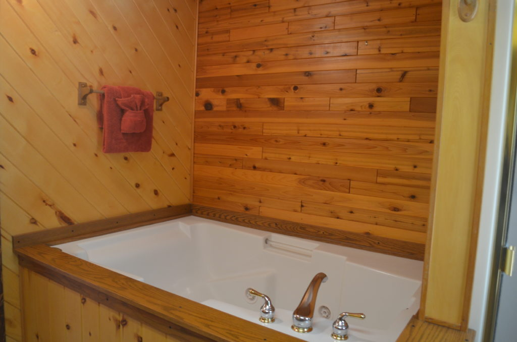 The master bath has a large, jetted tub.