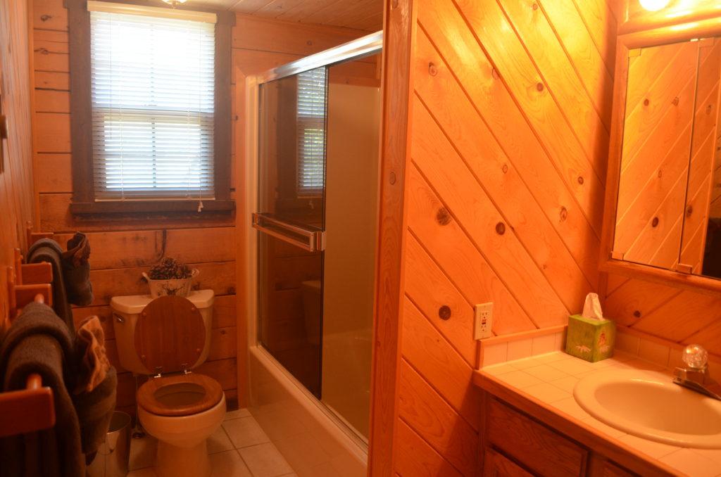 Loft bathroom with tub/shower combo.