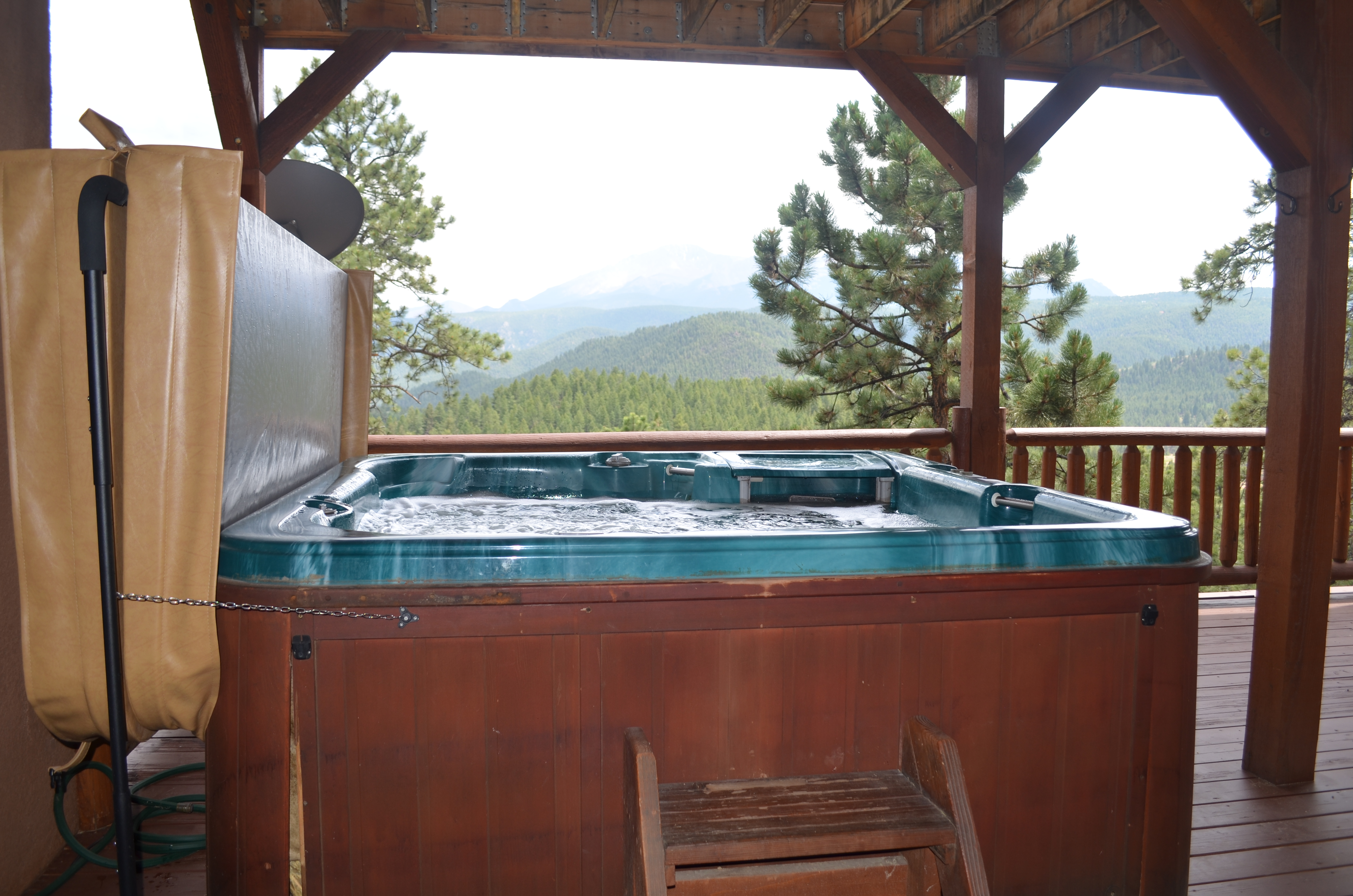 The lower deck sports the hot tub. Take a dip at the end of a day of exploring.